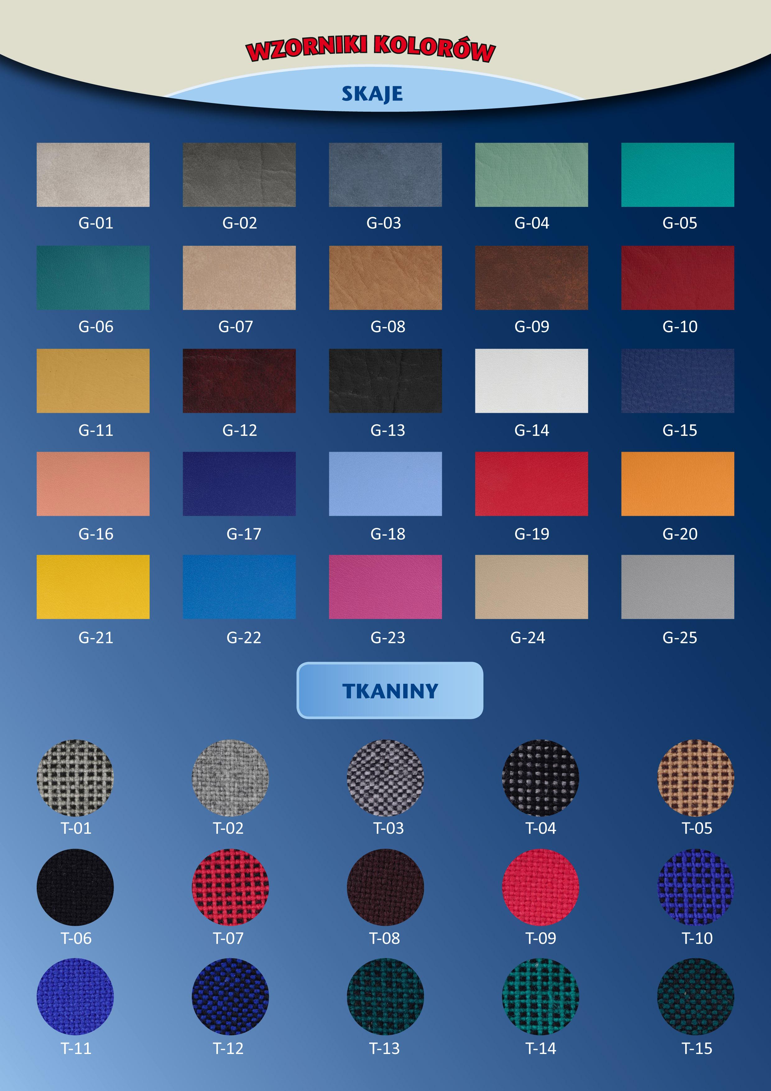 wzornik kolorów stołków SGK