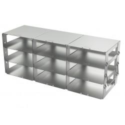 Statyw ze stali nierdzewnej z szufladami o głębokości 420mm do pudełek /  wysokość 54mm /  na 9 (3x3) pudełek - 140 x 420 x 165