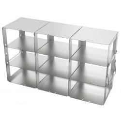 Statyw ze stali nierdzewnej z szufladami o głębokości 420mm do pudełek /  wysokość 75mm /  na 9 (3x3) pudełek- 140 x 420 x 240 m