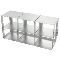 Statyw ze stali nierdzewnej z szufladami o głębokości 420mm do pudełek /  wysokość 95mm /  na 6 (3x2) pudełek - 140 x 420 x 198