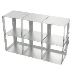 Statyw ze stali nierdzewnej z szufladami o głębokości 420mm do pudełek /  wysokość 125mm /  na 6 (3x2) pudełek - 140 x 420 x 260