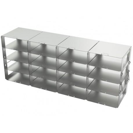 Statyw ze stali nierdzewnej z szufladami o głębokości 560mm do pudełek /  wysokość 54mm /  na 16 (4x4) pudełek- 140 x 560 x 223