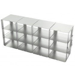 Statyw ze stali nierdzewnej z szufladami o głębokości 560mm do pudełek /  wysokość 75mm /  na 12 (4x3) pudełek - 140 x 560 x 240
