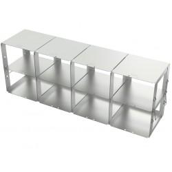 Statyw ze stali nierdzewnej z szufladami o głębokości 560mm do pudełek /  wysokość 95mm / na 8 (4x2) pudełek - 140 x 560 x 198 m