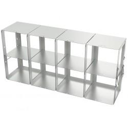 Statyw ze stali nierdzewnej z szufladami o głębokości 420mm do pudełek /  wysokość 125mm /  na 8 (4x2) pudełek - 140 x 560 x 260