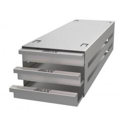 Statyw ze stali nierdzewnej z szufladami o głębokości 410mm do pudełek /  wysokość do 29mm /  na 9 (3x3) pudełek - 135 x 410 x 9