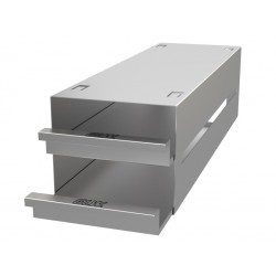 Statyw ze stali nierdzewnej z szufladami o głębokości 410mm do pudełek /  wysokość do 54mm /  na 6 (3x2) pudełek - 135 x 410 x 1