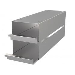 Statyw ze stali nierdzewnej z szufladami o głębokości 410mm do pudełek /  wysokość do 78mm /  na 6 (3x2) pudełek - 135 x 410 x 1