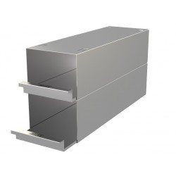 Statyw ze stali nierdzewnej z szufladami o głębokości 410mm do pudełek /  wysokość do 98mm /  na 6 (3x2) pudełek - 135 x 410 x 2