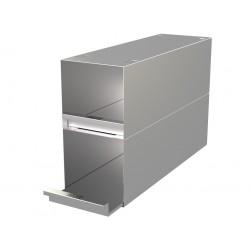 Statyw ze stali nierdzewnej z szufladami o głębokości 410mm do pudełek /  wysokość do 128mm /  na 6 (3x2) pudełek - 135 x 410 x