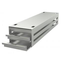 Statyw ze stali nierdzewnej z szufladami o głębokości 540mm do pudełek /  wysokość do 29mm /  na 12 (4x3) pudełek - 135 x 540 x