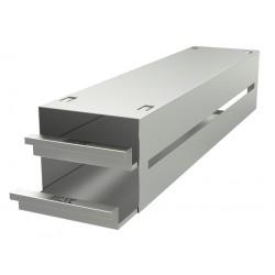 Statyw ze stali nierdzewnej z szufladami o głębokości 540mm do pudełek /  wysokość do 54mm / na 8 (4x2) pudełek - 135 x 540 x 11